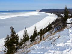 Snowy Bluffs (JamesEyeViewPhotography) Tags: lake michigan lakemichigan sand dunes ice trees snow water sky northernmichigan greatlakes clouds sleepingbeardunesnationallakeshore jameseyeviewphotography