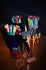 For# Flickr Friday #Simple Pleasures (qorp38) Tags: pencils pens colors markers eraser band clip sharpener supplies