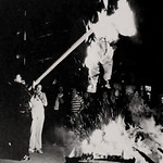Students burn an opponent in effigy during homecoming activities on the Brickyard in the '70s.