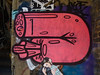 I love Your Sausage (Steve Taylor (Photography)) Tags: bloodsausage freedom graffiti streetart blue black brown pink woman lady man uk gb england greatbritain unitedkingdom london brick paper pasteup wheatup wheatpaste big huge couple cuddling love mm tattoo hopa janajs xcx