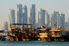 The Dhow harbour with the skyline of Doha financial centre, Qatar (Frans.Sellies) Tags: img6266 qatar doha