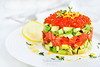 Delicious red caviar, salmon, avocado and cucumber tartar (Katty-S) Tags: antipasti antipasto appetizer avocado zest white catering chopped closeup cocktail cuisine eat fillet fish food fresh garnish gourmet green dill healthy herb lemon lettuce meal menu minced nutrition party plate raw restaurant salad salmon salted sandwich sauce seasoned service snack speciality spice starter tartar tartare tatar vegetable