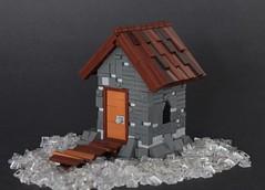 Old Hut on Frozen Lake (-Matt Hew-) Tags: lego castle kingdoms moc technique hut frozen winter rock bridge path