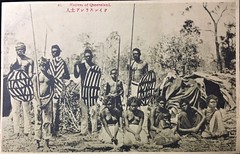 """Japanese postcard captioned """"Natives of Queensland"""" - very early 1900s (Aussie~mobs) Tags: queensland vintage australia natives indigenous aborigines family spear hut home women children aussiemobs"""