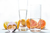 refraction (le cabri) Tags: glass glassmaterial water abstract composition citrus lemon orange design distorted drink refraction study physics illusion pattern reflection science whitebackground