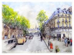 Paris Saint Michel - France (guymoll) Tags: paris france saintmichel croquis sketch googleearthstreetview rue boulevard aquarelle watercolour watercolor