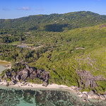 Aerial of the most beautiful beach in the world Anse Source d'Argent, Seychelles thumbnail