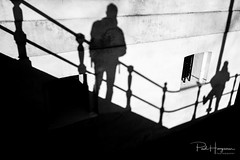 Fence with shadows (PaulHoo) Tags: fujifilm x70 fuji 2018 amsterdam city urban shadow light fence silhouette scheepvaartmuseum people candid lines pattern texture diagonal