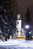 A view to church  in January evening_ (VisitLakeland) Tags: evening night dark winter view scene city kuopio park tree snow finland puisto lumi talvi rakennus building puu