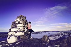 32/365: Hiking (Liv Annette) Tags: cairn hiking portrait me selfie lanscape view mountain norway norge fjell lifjell rogaland 365 365project photography colors blue sky scenery scenic landskap sigma canon wideangle 1022mm canon7d
