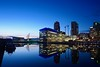 The Blue Hour. (Snipsnapper. Back after a long absence, long story) Tags: salford salfordquays manchester waterfront buildings salforddock bluehour lights studio mediacity mediacitysalford thebluehour