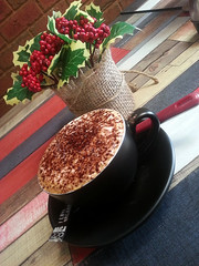 Time for a Cuppa (PhotosbyDi) Tags: coffee cafe cappuccino holly berries wangaratta northeastvictoria samsunggalaxy smartphone muddywaters