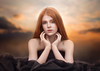 Dreamy Hannah ({jessica drossin}) Tags: jessicadrossin photography portrait woman redhair redhead pretty clouds overlays dress wwwjessicadrossincom freckles