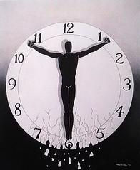 Patience (The Art of Jay Thomas II) Tags: pointillism silhouetteart silhouette clock outsiderart urbanart surreal surrealism