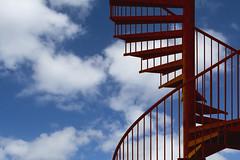 Rusty staircase (Jan van der Wolf) Tags: map180107vv spiralstaircase rusty wenteltrap trap stairs clouds sky wolken stairway