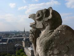 A gargoyle's view over Paris (BKNielsen4) Tags: france paris art gargoyle notre dame view cityscape city day perspective sunny sky clouds