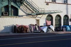 Under the fire escape (ADMurr) Tags: la macarthur park homeless fire escape leica m6 50mm ccc696edit