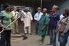 Cassava Breeding Unit donates sweeping rakes to FMS staff (IITA Image Library) Tags: cassava manihotesculenta cassavabreedingunit facilitymanagementunit rakes