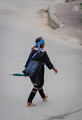 A Hmong woman walking on street (phuong.sg@gmail.com) Tags: asia asian basket black clothes colorful costume country dress ethnic ethnicity female forest girl highlands hmong minority mountain native natural nature northwest old outdoor path pathfinder pathway people poor poverty sapa track traditional trail tribal tribe tropic tropical vietnam vietnamese village villager walk walking woman women wood