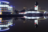 Lost in Space (G-WWBB) Tags: imperialwarmuseum iwm lowrysalfordquays lowry lowrytheatre salfordquays salford quays thequays waterfront water reflections reflect reflecting lights red silver blue museum night