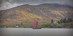 Eda Frandsen.. (Harleynik Rides Again.) Tags: edafrandsen kylerhea narrows isleofskye glenelg mountains traditionalwoodenboat sailingboat scotland harleynikridesagain