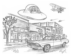 WW Saloon (rod1691) Tags: myart art sketchbook bw scifi grey concept custom car retro space hotrod drawing pencil h2 hb original story fantasy funny tale automotive illistration greyscale moonpies sketch sexy saloon