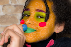 When an eleven-year-old uses LightRoom ... (Phototravelography) Tags: berlin deutschland germany lightroom photo portrait blue clown colourful colours earring editing eyes girl green lines lips lollypop nose people person pink