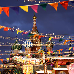 Saint Basil cathedral at Xmas - Moscow (Frédéric Lefebvre - Landscape photography) Tags: moscow moscou red square redsquare placerouge russia russie winter hiver neige snow beautifullight beautifulview bluehour heurebleue dusk dawn carousel roundabout xmas xmaslight blue colorful
