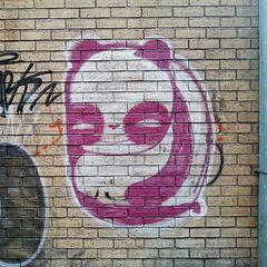 Panda Graffiti (Coastal Elite) Tags: panda graffiti montreal ruelle back alley downtown alleys alleyway animal magenta pink white paint streetart montréal urban street art urbain city brick wall texture pandas bear