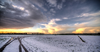 Clouds transforming into snow.