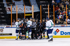 """Kansas City Mavericks vs. Florida Everblades, February 18, 2018, Silverstein Eye Centers Arena, Independence, Missouri.  Photo: © John Howe / Howe Creative Photography, all rights reserved 2018 • <a style=""""font-size:0.8em;"""" href=""""http://www.flickr.com/photos/134016632@N02/40387906741/"""" target=""""_blank"""">View on Flickr</a>"""