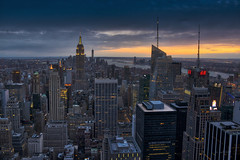 The Big Apple (jed52400) Tags: thebigapple nyc newyork manhattan hudsonriver empirestatebuilding theempirestate oneworldtradecenter rockefellercenter topoftherock bankofamericatower 4timessquare skyscrapers buildings sunset ambientlights clouds hdr statueofliberty