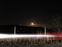 Moonlight drive (xDigital-Dreamsx) Tags: nature night nightsky exposure long fence road lights
