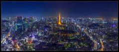 Tokyo Skyline Panorama (Mikedie1) Tags: 東京 日本 東京タワー 六本木 夜 tokyo tokio japan tokyotower tokiotower roppongi roppongihills night nacht cityscape 景色 stadtlandschaft panorama skyscraper skyline canon eos 600d sigma 1020mm