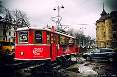 Souvenir shop (CharlieFreeman) Tags: shop souvenir red old tram winter center lviv ukraine charliefreeman