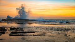 Sunrise Seascape Splash (Merrillie) Tags: daybreak theskillion nature water terrigal nsw rocky sea clouds newsouthwales rocks earlymorning morning landscape centralcoast ocean australia sunrise waterscape coastal outdoors sky seascape dawn coast cloudy waves