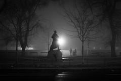 The Force of the Past (Gilderic Photography) Tags: bratislava roadtrip slovakia night nuit statue light fog mist brume people park city panasonic lumix lx100 urban bw nb blackwhite