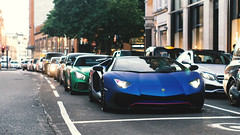 Typical London Traffic (Mattia Manzini Photography) Tags: lamborghini aventador sv superveloce roadster mercedes amg gtr supercar supercars cars car carspotting nikon v12 blue spoiler v8 green carbon automotive automobili auto automobile london knightsbridge uk combo lights