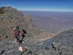 Catherine climbing towards Jebel Shams.