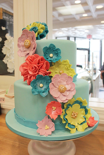 Blue and Bright Fabric Flowers Cake