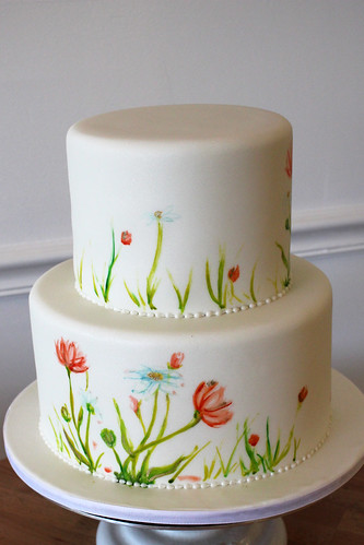 Hand Painted Simple Wild Flowers Cake