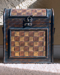 Precious (Chancy Rendezvous) Tags: chest treasure latch treasurechest box container memories keepsake heirloom valuable expensive stilllife leather decorated squares pattern old antique texture