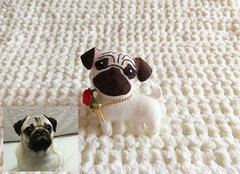 I made this little felt dog to my friend as her birthday gift (Mingle Doll 鳴娃娃) Tags: felttoy feltdog feltpug dmcthread