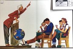 Class Lecture, UC Berkeley, 1939 (Melinda Young Stuart) Tags: libslibs people drawing color teacher students professor lecture cartoon 1939 uc berkeley bluegold yearbook humor loniebee artist
