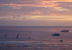 Lavender dreams (peggyhr) Tags: peggyhr sunset sailboats yachts waves pacificocean sky clouds white mauves pinks orange dsc06801a hawaii surfers
