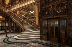 The old post office Mexico City II (reinaroundtheglobe) Tags: mexico mexicocity postoffice architecture inside symmetry stairs metalstairs lift
