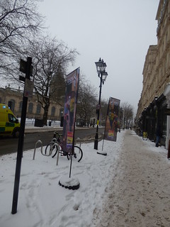 Snow on Colmore Row - banners for Asics I Move Me