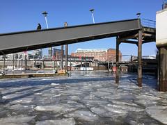 bridging ice (rob.brink) Tags: hamburg deutschland germany hafen city urban architecture ice winter snow eis ijs schnee sneeuw bridge elbe hafencity harbour harbor