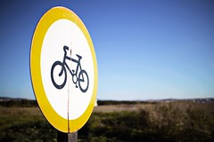 Cycling route (gururtemeller) Tags: bike bicycle lane nature road old rust rustic bokeh focus blur season spring canon yellow vintage simple circle cycling track pole detail contrast