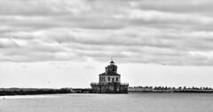 Oswego Harbor, West pier light house. (riltsiferjan1) Tags: birds winter cold glaciers vast pier nikon dxformat amateur blackandwhite lakeontario greatlakes newyork oswego lighthouse